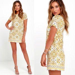 Lulu's Dandy Lion Yellow Print Shirt Dress